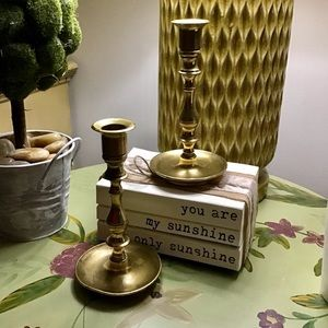 Set 2 Vintage Brass Candlesticks Boho Romantic
